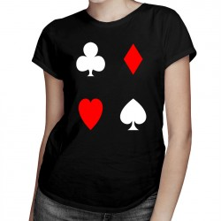 Playing Cards - trefl, pik, kier, karo - T-shirt pentru femei cu imprimeu