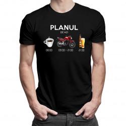 Planul de azi: cafea, motocicletă, bere - tricou bărbătesc cu imprimeu