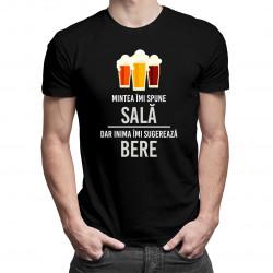 Mintea îmi spune sală, dar inima îmi sugerează bere - tricou bărbătesc cu imprimeu