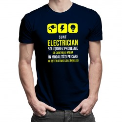 Sunt electrician - soluționez probleme - T-shirt pentru bărbați